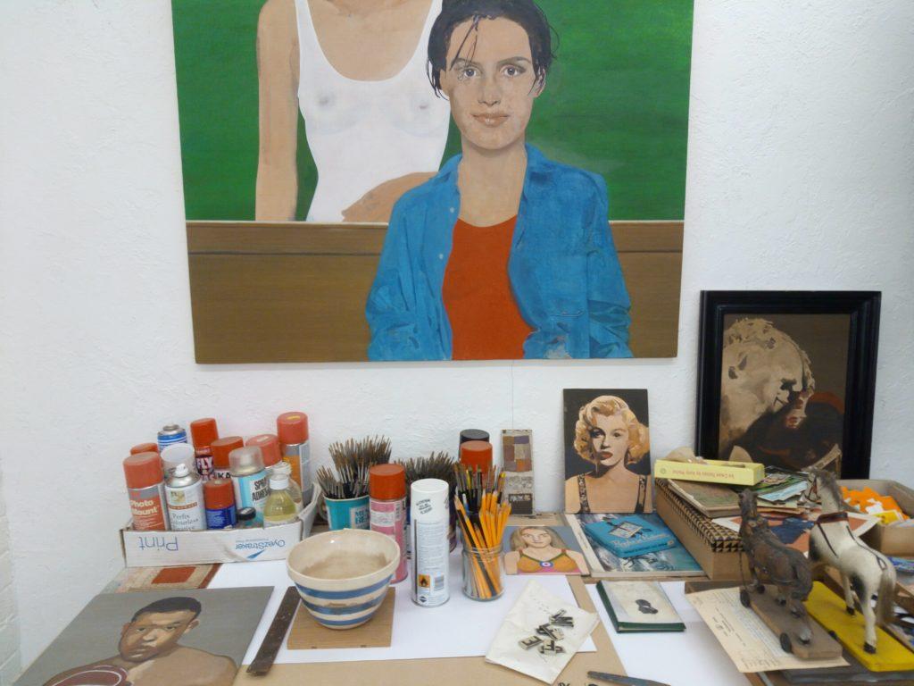 Peter Blake's studio, deskwork, Frieze Masters, Regent's Park