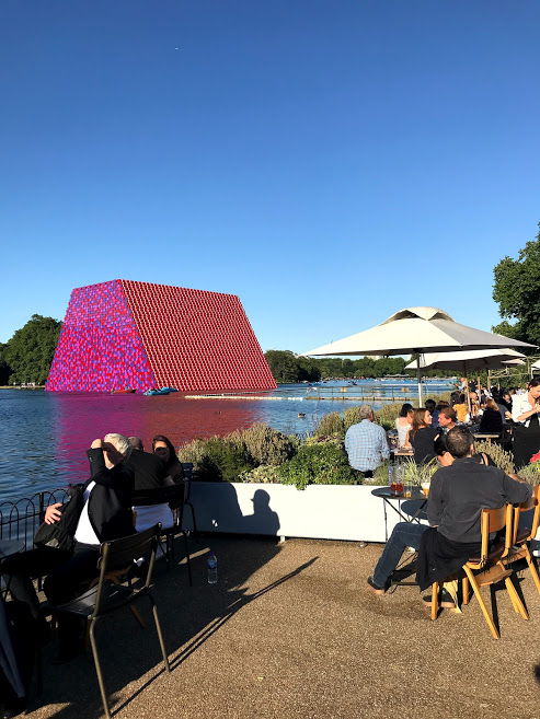Christo's Mastaba Lido view, Serpentine Lake, London, June 2018.