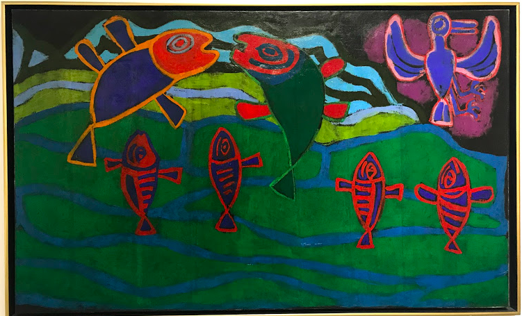 Jean Dubuffet, Six Fish and Bird, 1943, oil on canvas, Tel Aviv Museum of Art