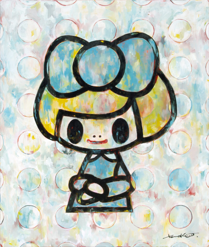 Tomoko Nagao, Gioconda water-blue ribbon white dots, 2018, oil on canvas, 100 x 120cm